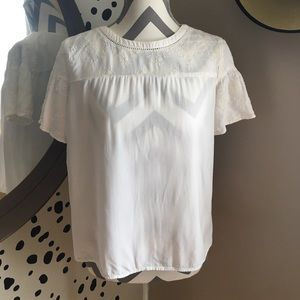 LOFT Embroidered White Blouse